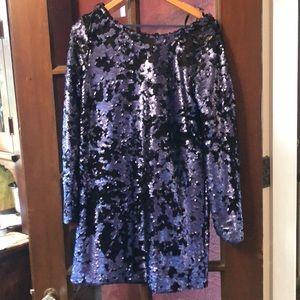NWT - Blue/Black sequin smock dress